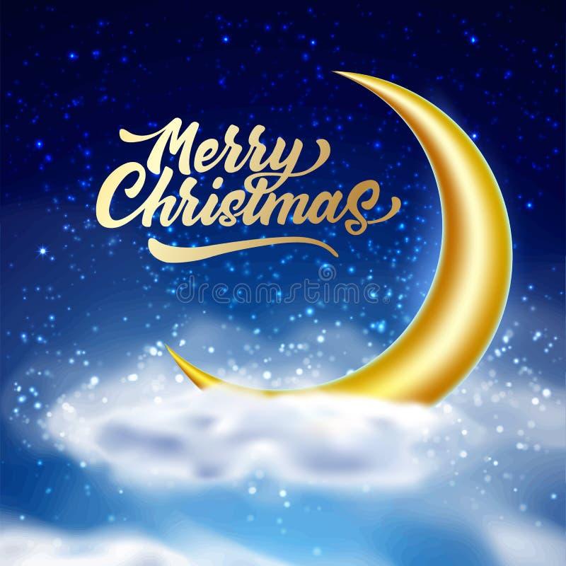 与云彩的传染媒介圣诞快乐不可思议的夜空 皇族释放例证