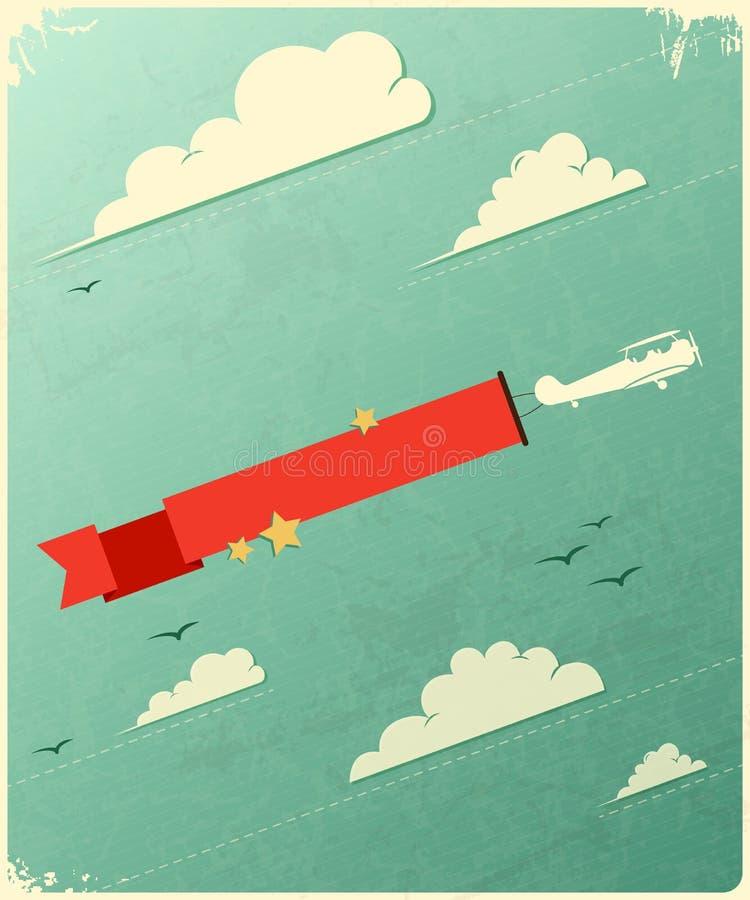 与云彩的减速火箭的海报设计。 向量例证