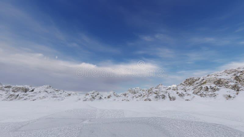 与云彩的天空在冬天 库存图片