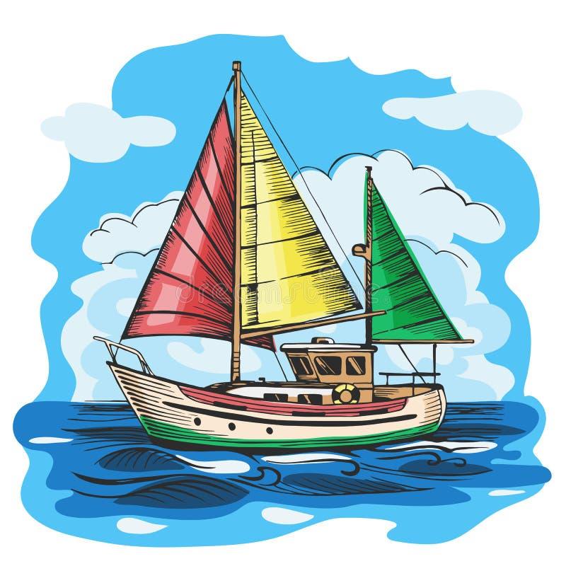 与云彩的帆船色的传染媒介剪影 向量例证