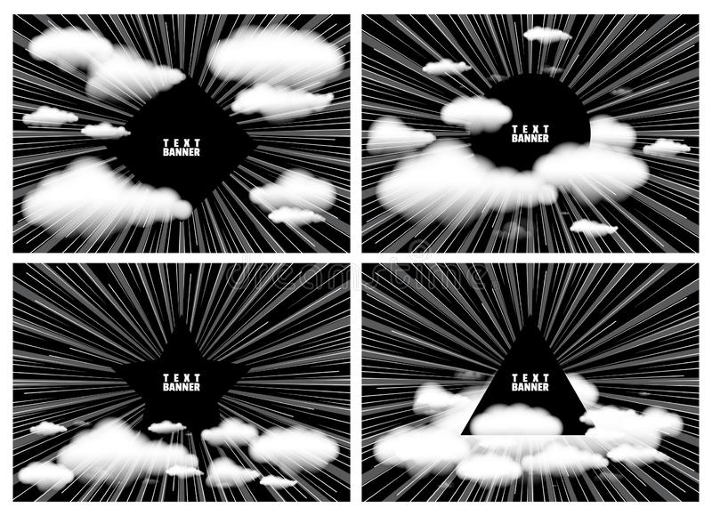 与云彩的文本的背景和空间 从框架的中心的辐形光芒与作用爆炸的 设计的模板 皇族释放例证