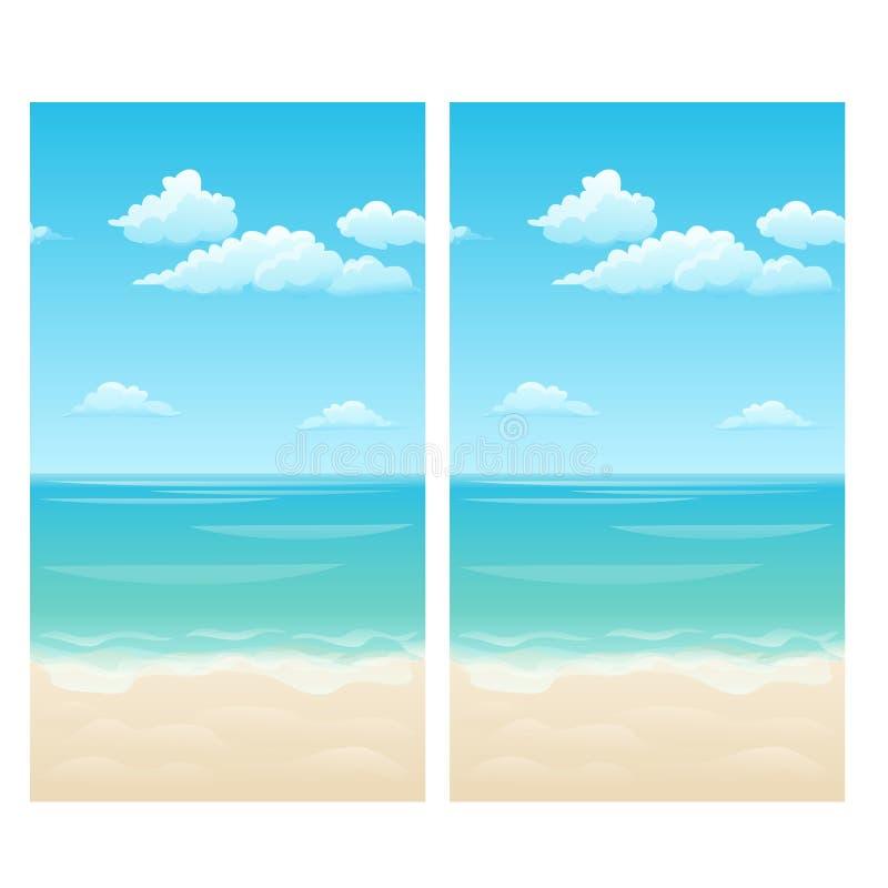 与云彩的无缝的背景在天空、海和含沙岸 传染媒介动画片特写镜头例证 皇族释放例证