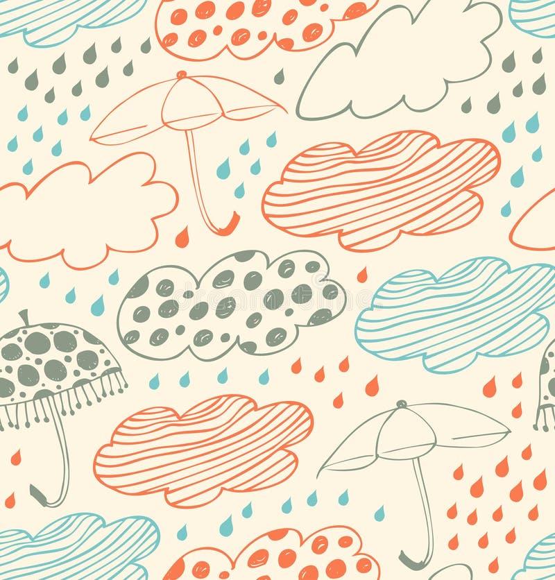 与云彩的明亮的多雨无缝的背景鞋带样式,雨动画片伞和下落乱画与秀丽d的纹理 向量例证
