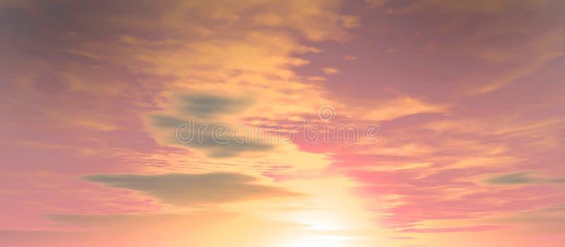 与云彩的柔和的桃红色日落天空 免版税库存照片