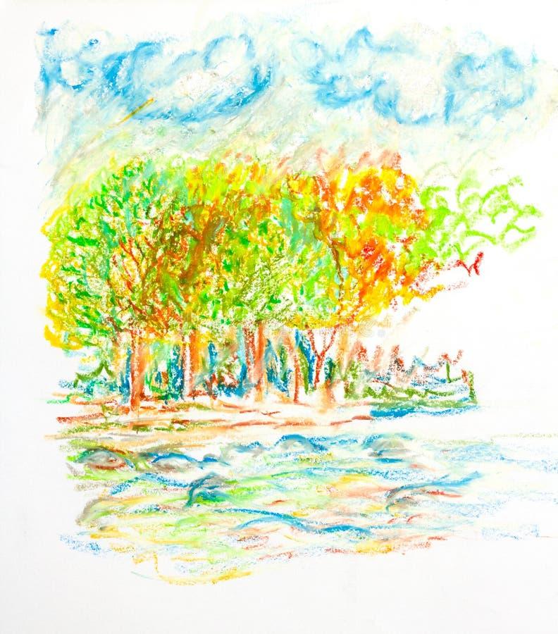 与云彩的森林风景和河上油被绘的柔和的淡色彩 皇族释放例证