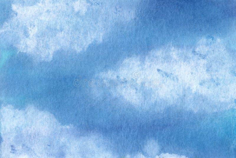 与云彩的水彩天空 库存图片