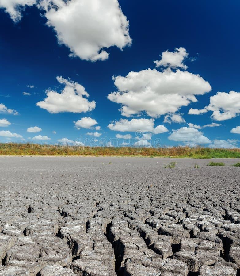 与云彩的深蓝天在天旱地球 库存照片