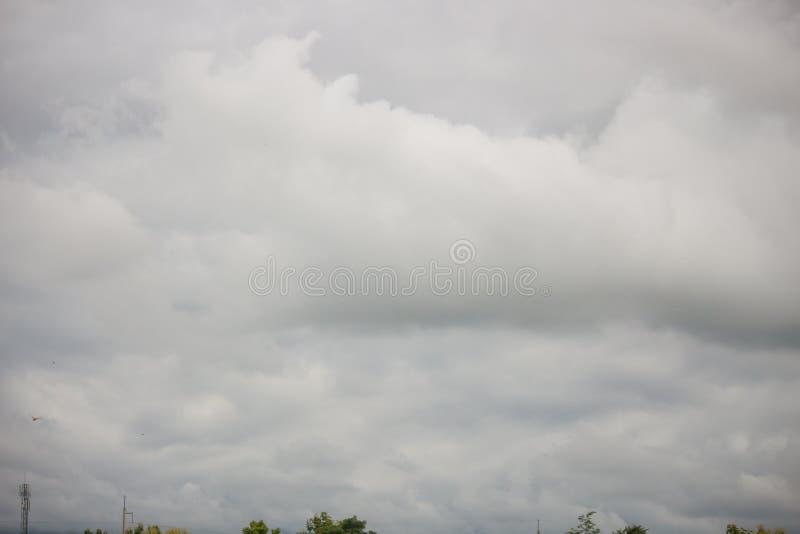 与云彩的深蓝风雨如磐的天空,抽象自然背景 图库摄影