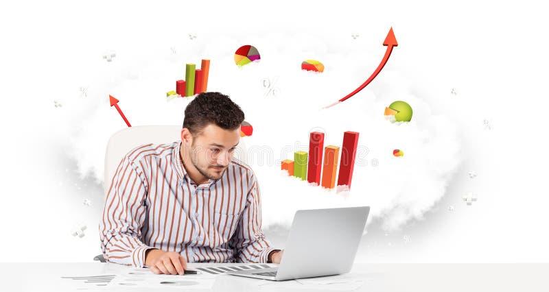 Download 与云彩的英俊的商人在包含col的背景中 库存例证. 插画 包括有 数据, 笔记本, 云彩, 商业, 图标 - 62526674