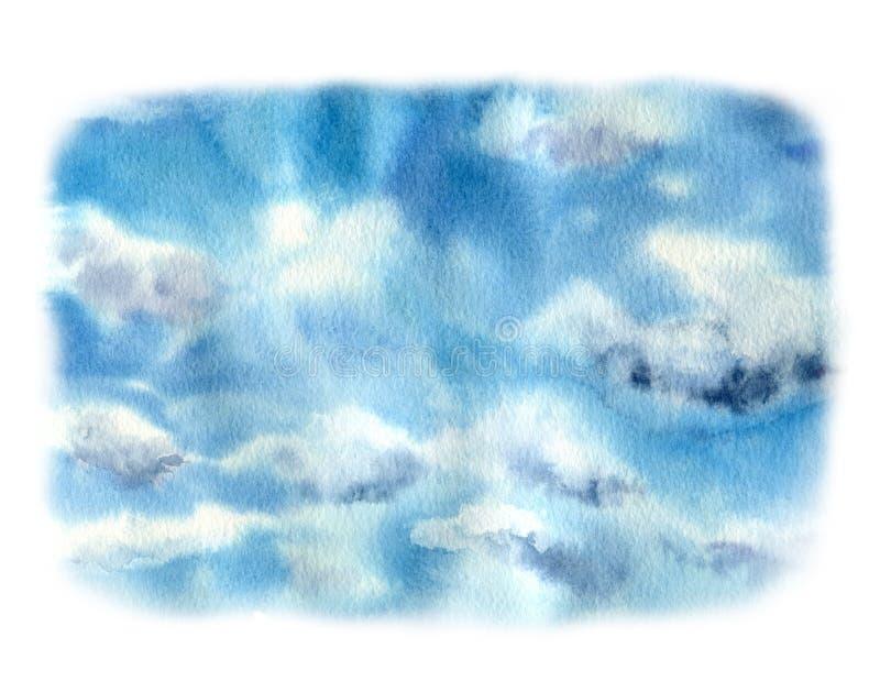 与云彩的水彩天空 手画自然例证 对设计、印刷品或者背景 向量例证