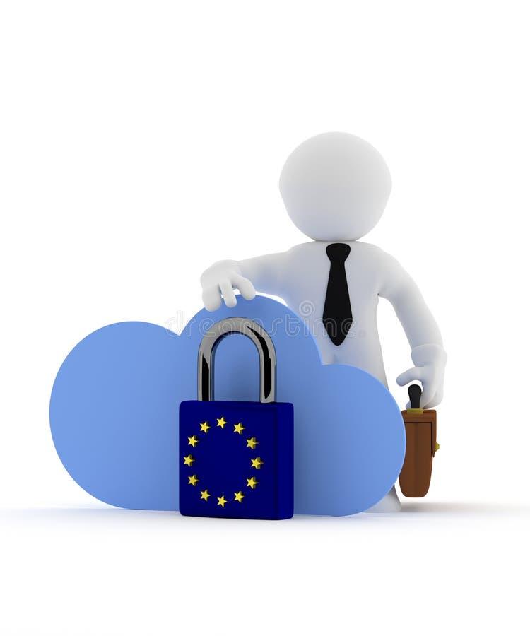 与云彩象的小商人字符和欧盟挂锁 皇族释放例证