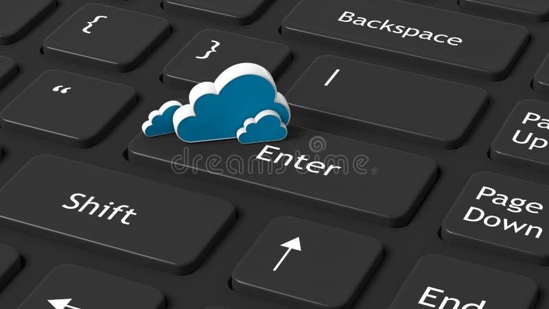 与云彩象的键盘特写镜头 库存例证