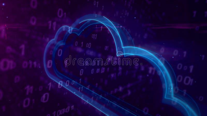 与云彩3d例证的网际空间数字概念 库存例证