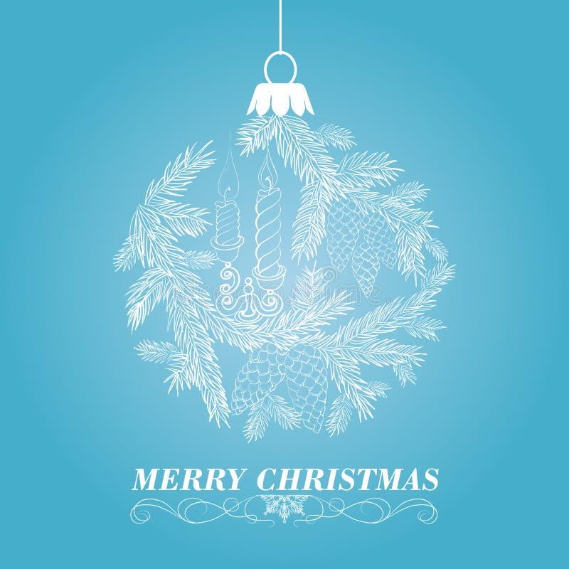 与云杉和蜡烛的圣诞节背景。 向量例证