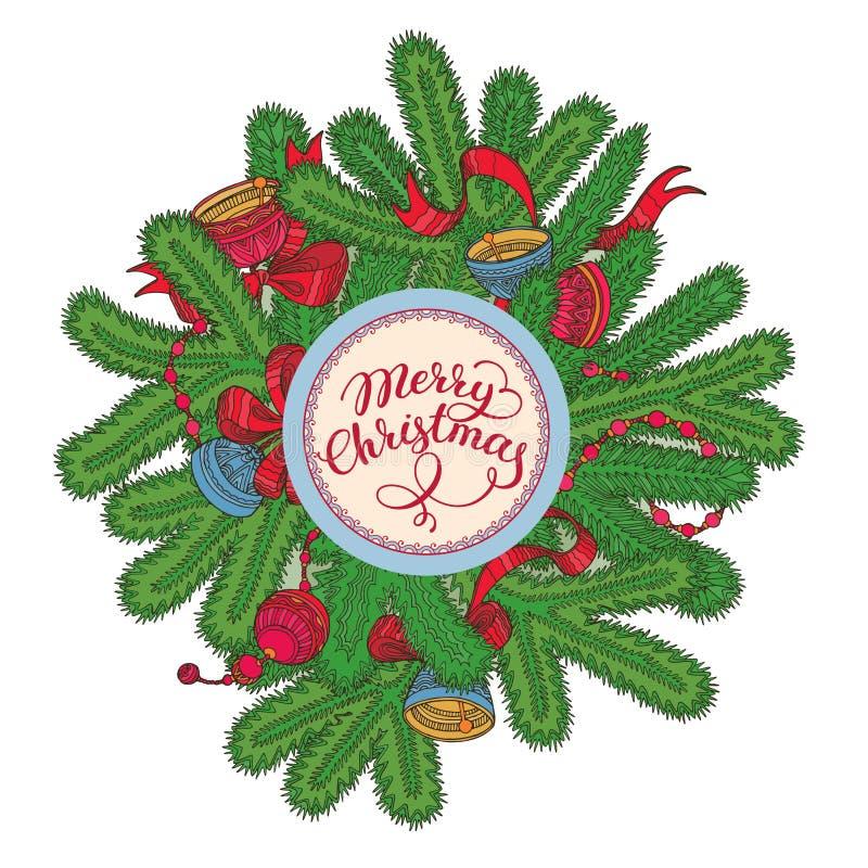 与云杉的分支、装饰和字法的白色圣诞节快乐卡片 向量例证