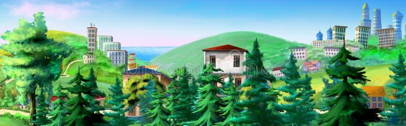 与云杉的树和大厦的农村风景在背景 皇族释放例证