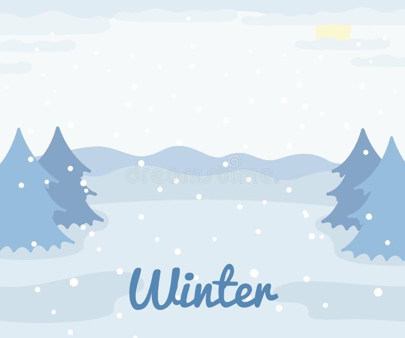 与云杉的树和雪,冬天室外视图,乡下自然例证的冬天风景 向量例证