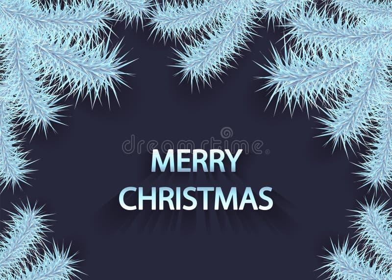与云杉的银色蓝色树枝或分支的圣诞节背景在黑暗的 库存例证