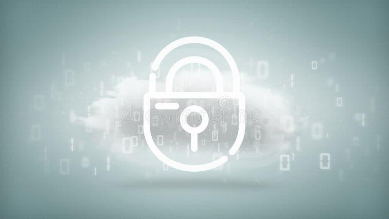 与互联网安全挂锁3d翻译的二进制云彩 向量例证