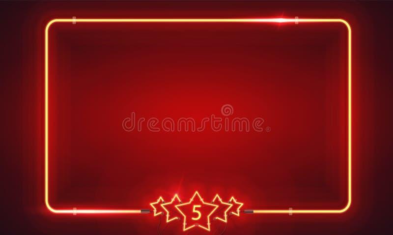 与五个星和和空白的广告牌的减速火箭的霓虹框架 免版税库存照片