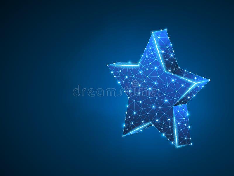 与五光芒的容量3d星 在天空概念的传染媒介霓虹多角形空间低多星 小点和线路 向量例证