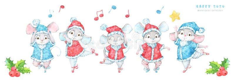 与五只手画水彩老鼠,鼠的逗人喜爱和欢乐2020个新年和圣诞节横幅,在红色和蓝色服装decorat 向量例证