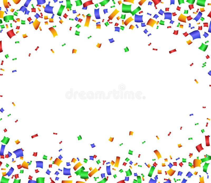 与五彩纸屑的五颜六色的庆祝框架背景 库存例证