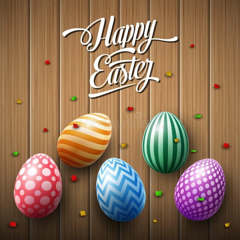 与五彩纸屑的愉快的复活节彩蛋在木棕色背景 库存例证