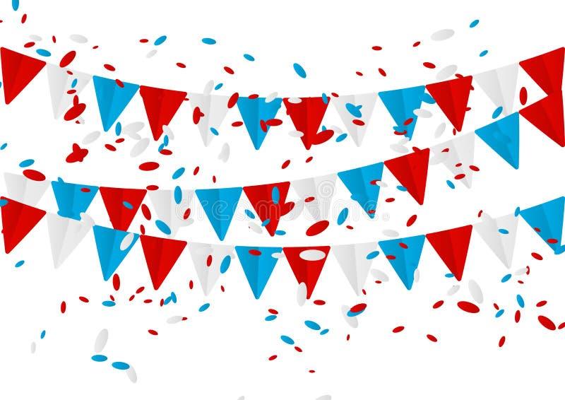 与五彩纸屑的美国独立日旗子 皇族释放例证