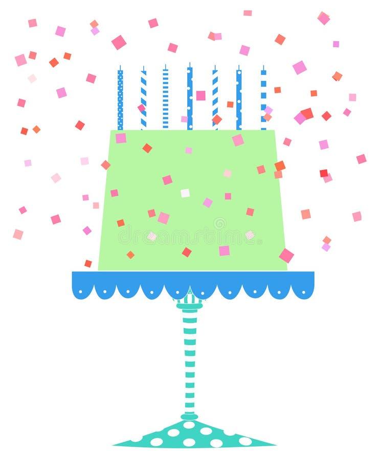 与五彩纸屑的逗人喜爱的欢乐生日蛋糕 库存例证