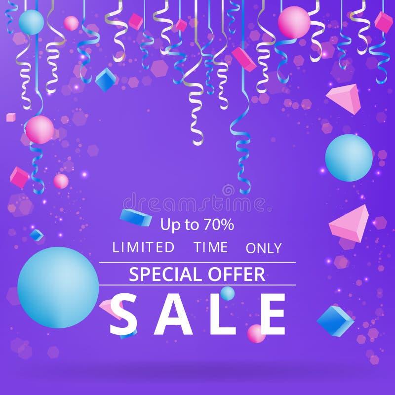 与五彩纸屑的销售flayer在霓虹紫罗兰色背景 向量例证
