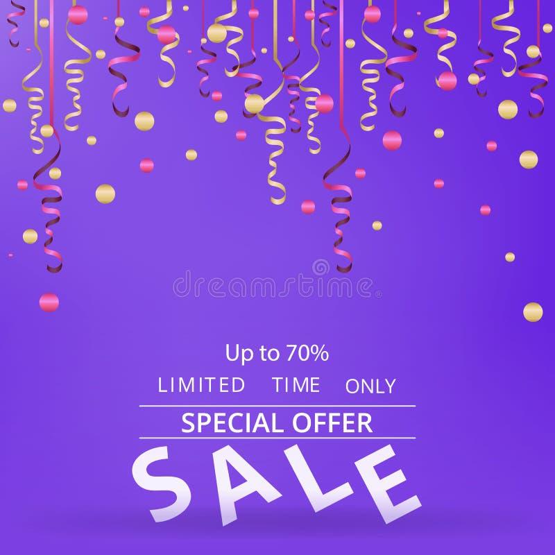 与五彩纸屑的销售flayer在霓虹紫罗兰色背景 库存例证
