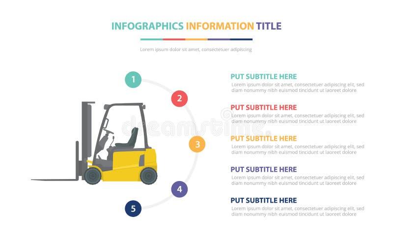 与五点的铲车infographic模板概念列出和各种各样的颜色有干净的现代白色背景-传染媒介 库存例证