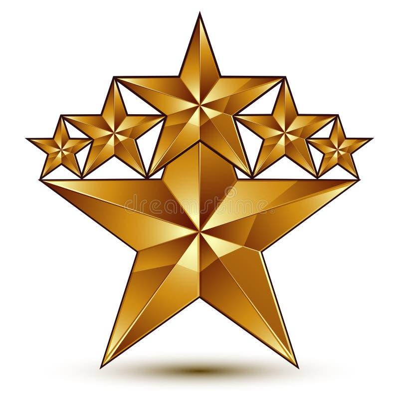 与五角形金黄星标志的迷人的传染媒介模板 皇族释放例证