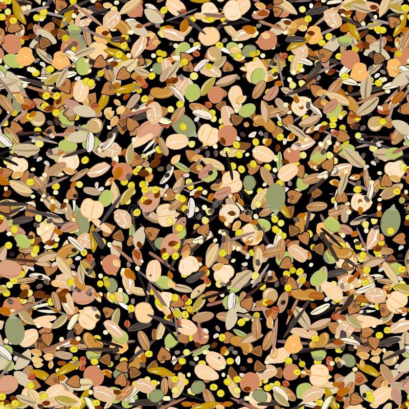 与五谷和谷物的无缝的样式 麦子,大麦,燕麦,黑麦,荞麦,白苋,米,小米,高梁,奎奴亚藜 库存例证