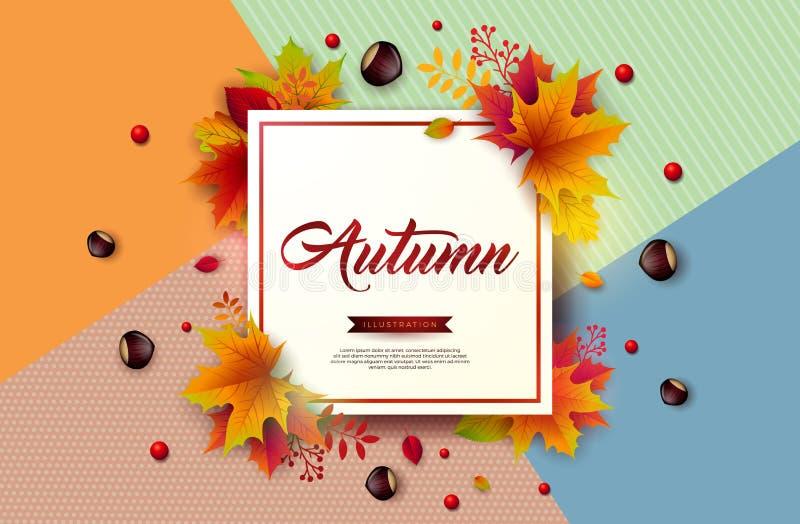 与五颜六色下跌的叶子,栗子和在上写字的秋天例证在抽象五颜六色的背景 自动驾驶仪 皇族释放例证