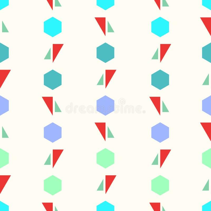 与五颜六色的三角和六角形五颜六色的背景的无缝的几何样式传染媒介摘要设计 皇族释放例证