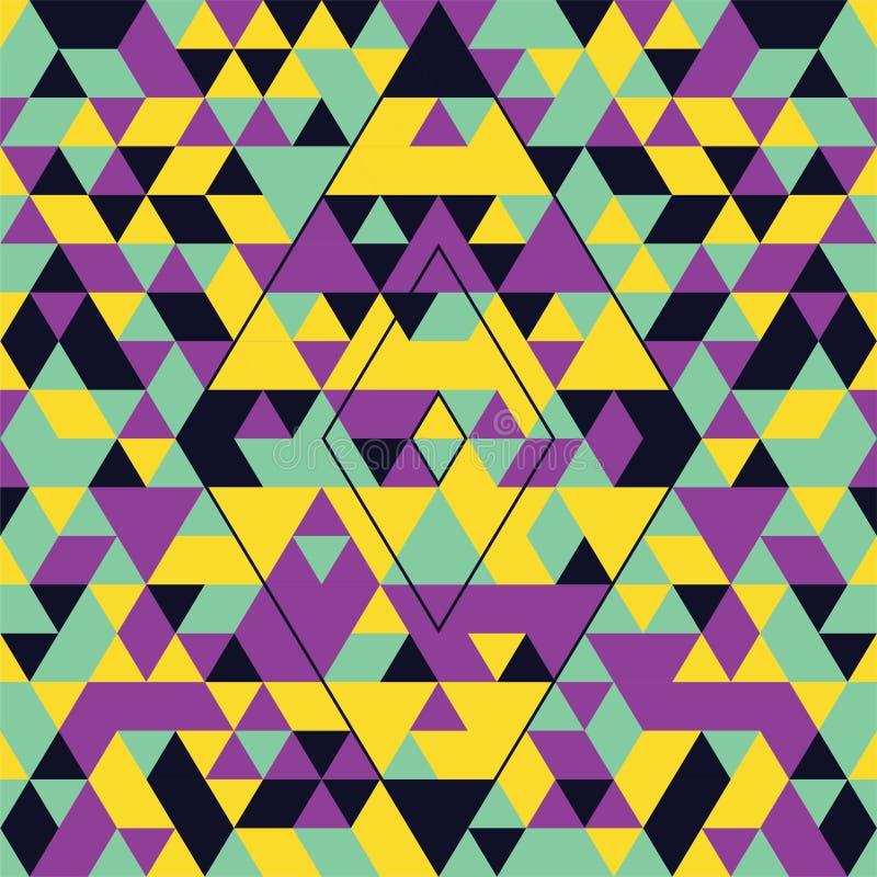 与五颜六色的三角的几何无缝的样式 绿松石,黄色和紫色 库存图片
