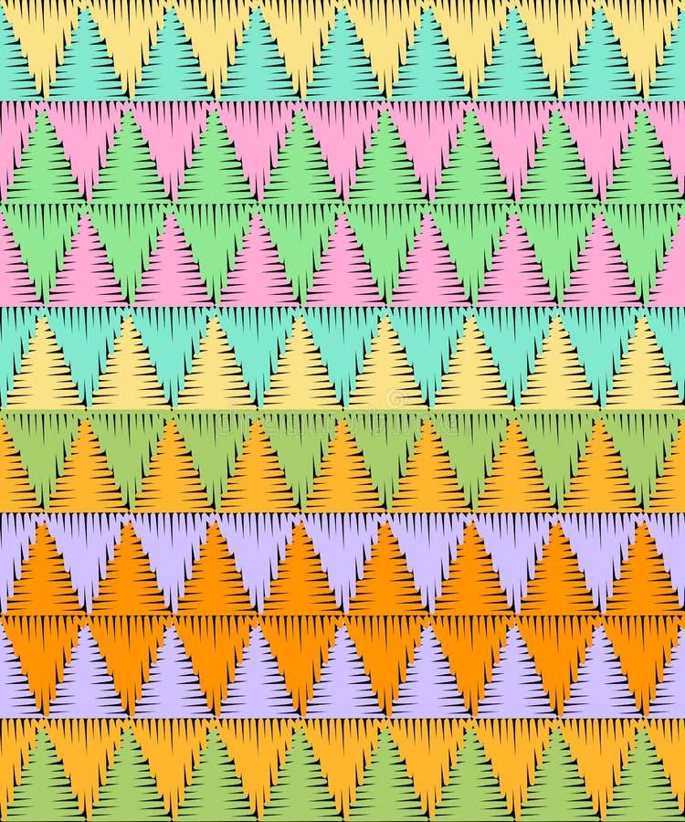 与五颜六色的三角的刺绣无缝的样式 几何抽象的背景 挂毯 皇族释放例证