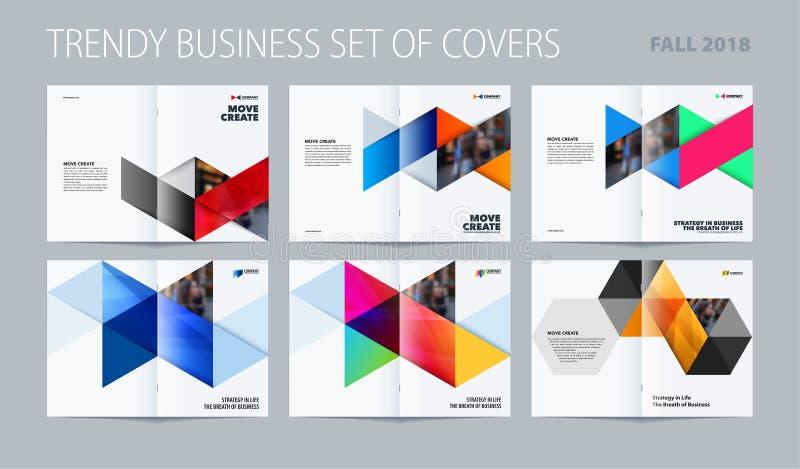 与五颜六色的三角的抽象二重页小册子设计六角形样式烙记的 企业传染媒介介绍 向量例证
