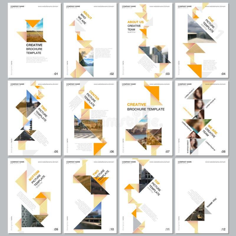 与五颜六色的三角origami纸元素的创造性的小册子模板在黑背景 r 皇族释放例证