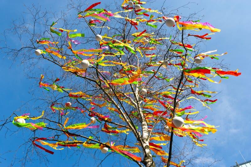 与五颜六色的丝带和被绘的鸡蛋-复活节假日的农村标志的装饰的桦树Betula Pendula 库存图片