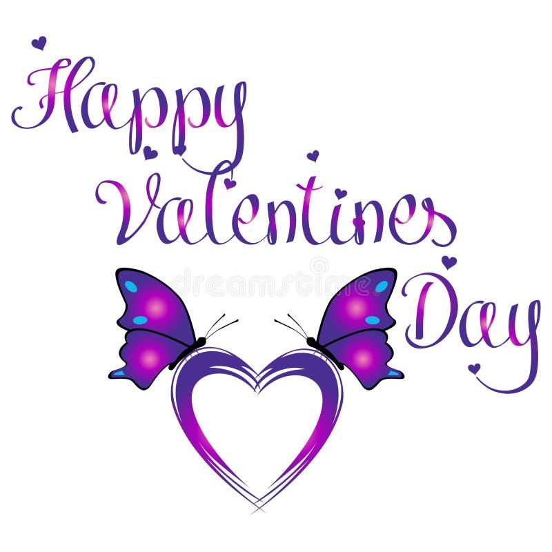 与五颜六色的两只蝴蝶的愉快的华伦泰` s天坐在白色背景中隔绝的紫心勋章形状 向量例证