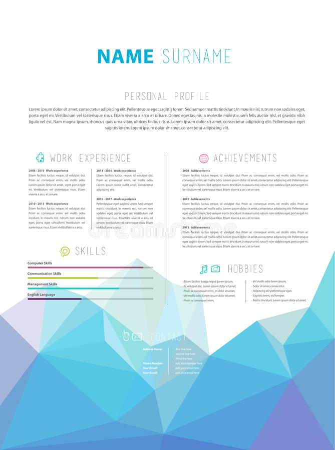 与五颜六色的低多对象的创造性的简单的CV模板 向量例证