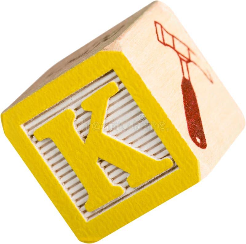 与五颜六色的信件的木玩具立方体 库存照片