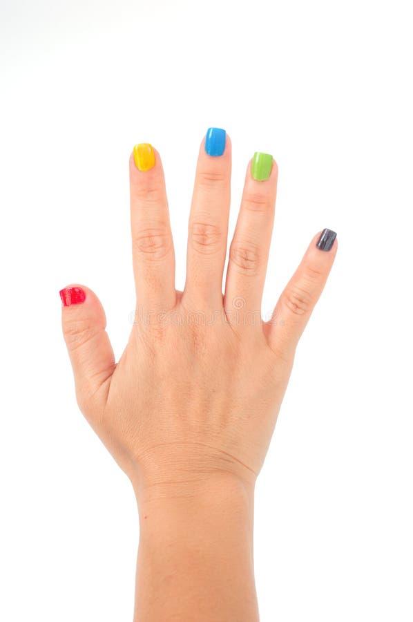 与五颜六色的修指甲的女性现有量 库存图片
