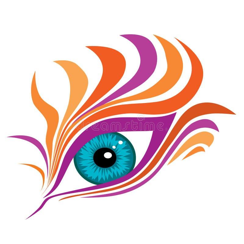 与五颜六色的假睫毛的抽象眼睛 向量例证