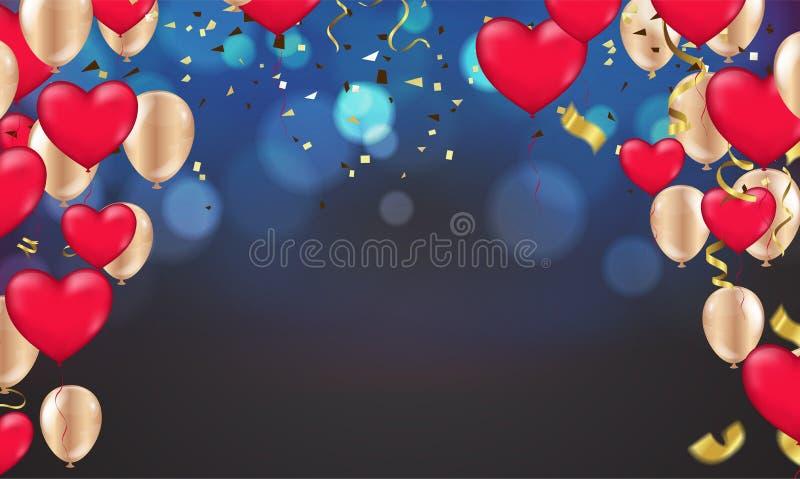 与五颜六色的光亮的bokeh和党气球的深蓝假日背景 向量例证