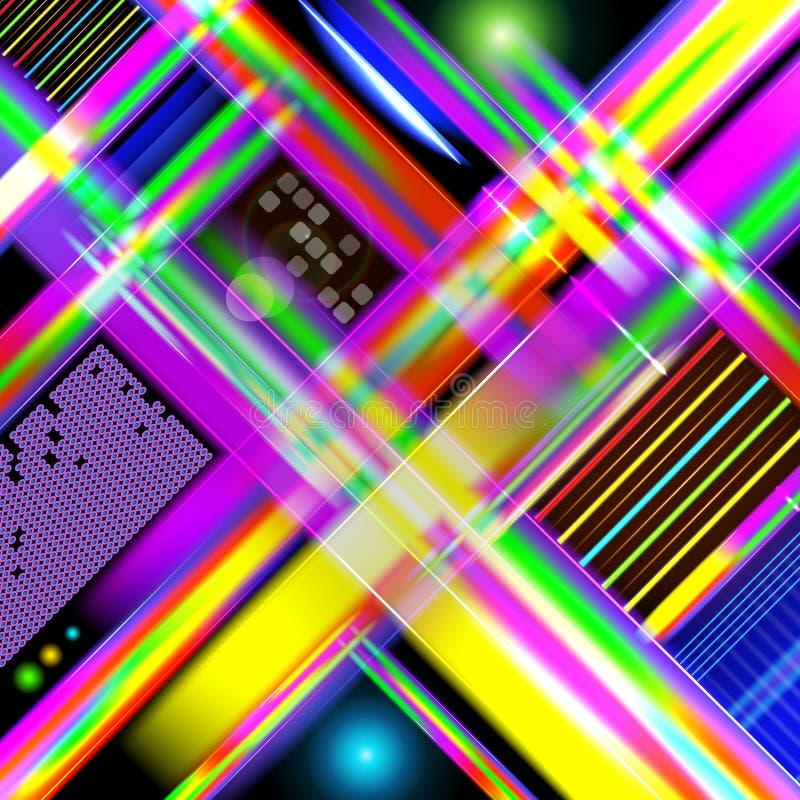 与五颜六色的光和st的抽象技术式背景 向量例证