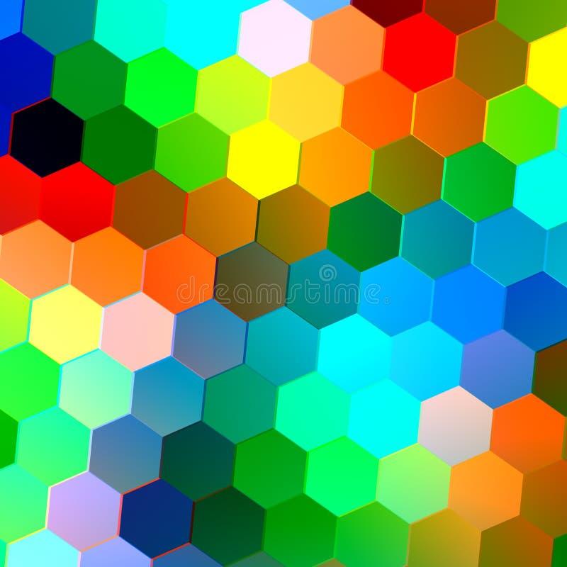 与五颜六色的六角形的抽象无缝的背景 锦砖样式 几何形状 重复瓦片 青绿的红色 向量例证